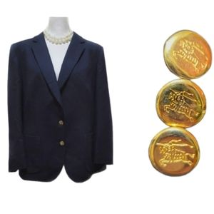 Burberry Navy Wool Button V Neck Blazer Jacket
